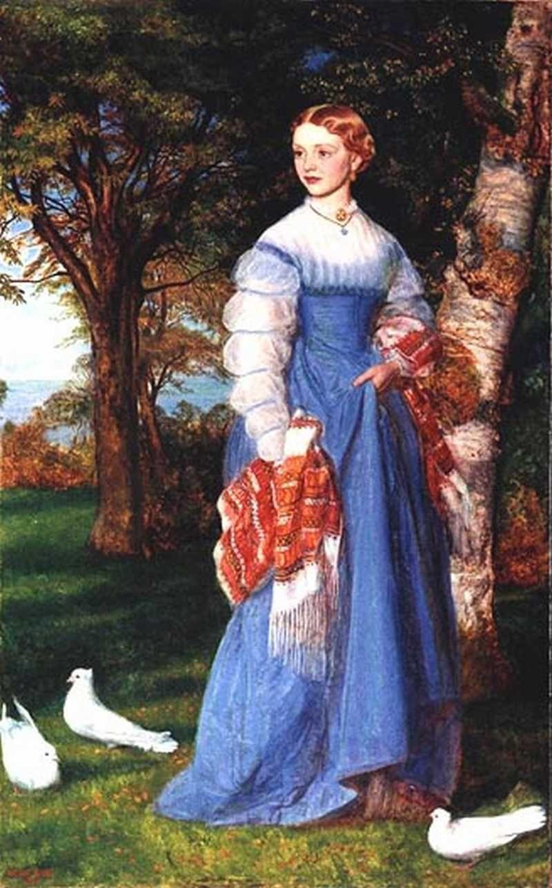 Arthur Hughes. Portrait of Mrs. Louise Jenner in Edinburgh Landscape