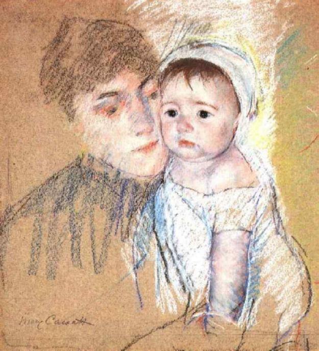 Mary Cassatt. Baby bill in cap and gown
