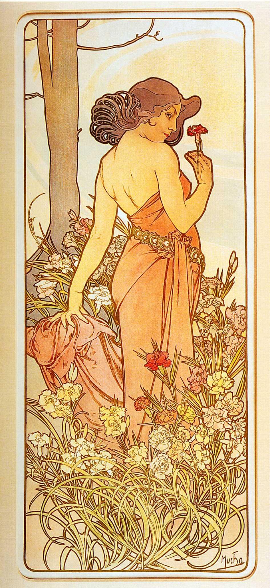 Alfons Mucha. Flowers: Carnation