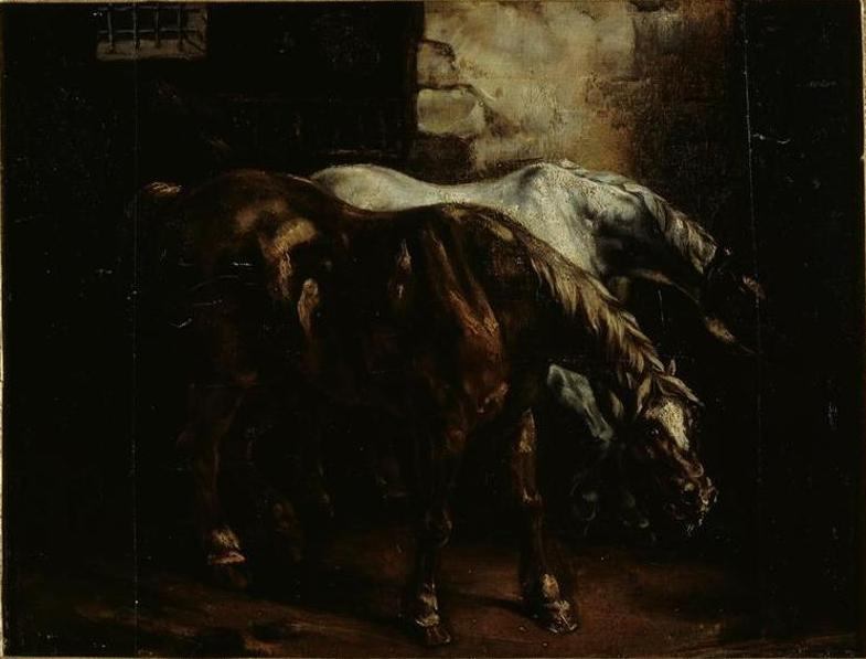 Théodore Géricault. Two postal horses in the stable