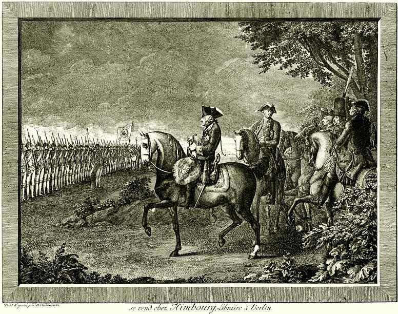 Даниэль  Николай Ходовецкий. Король Фридрих II на вахтпараде в Потсдаме, первое состояние