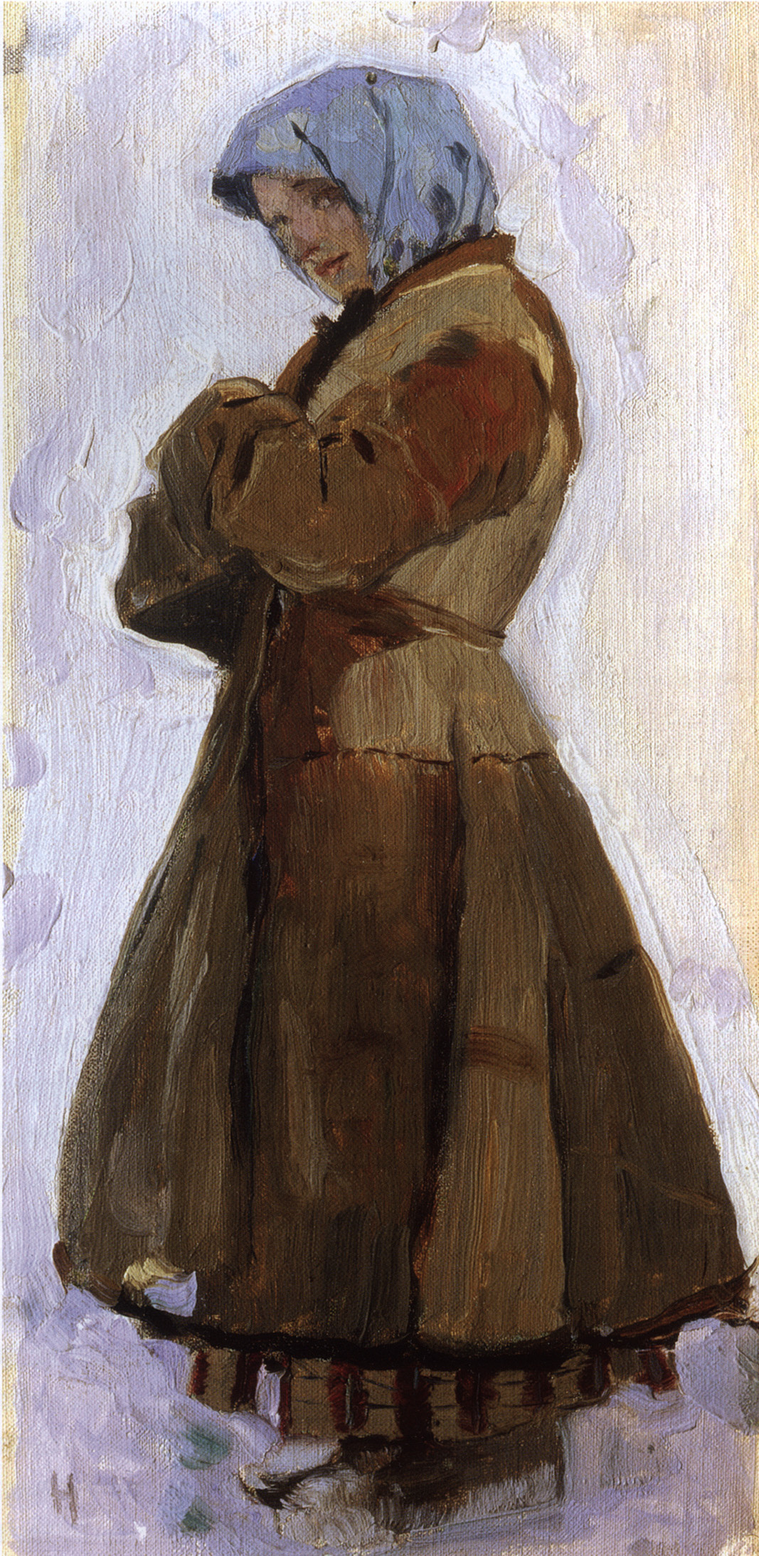 "Mikhail Vasilyevich Nesterov. The girl in the coat. Study for the painting ""Holy Russia"""