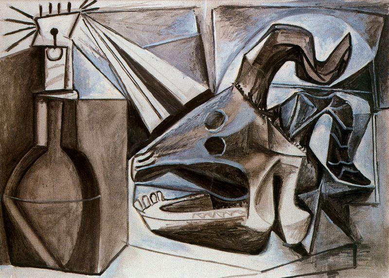 Пабло Пикассо. Череп козы, бутылка и свеча