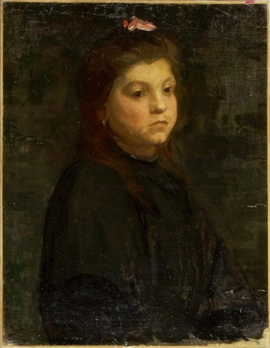 Theophile-Alexander Steinlen. Portrait of woman with red ribbon in hair