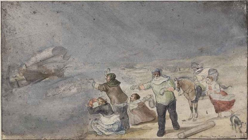 Hendrik Avercamp. Shipwrecked in a storm