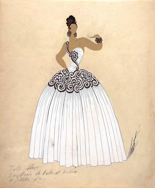 Роман Петрович Тыртов (Эрте). Дизайн бело-золотого платья