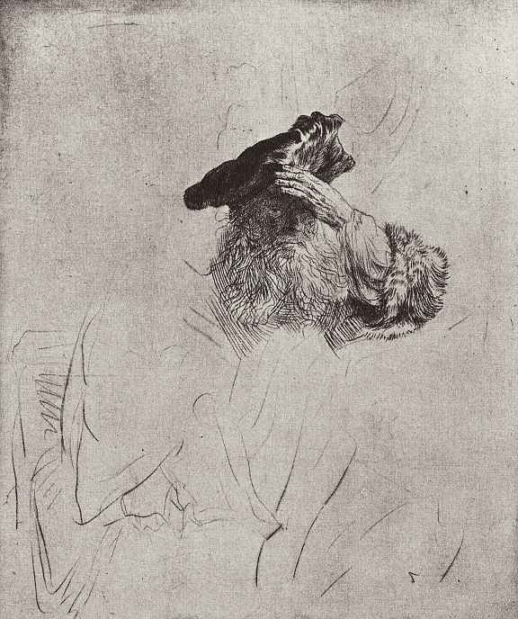 Рембрандт Ван Рейн. Старик, поправляющий берет левой рукой