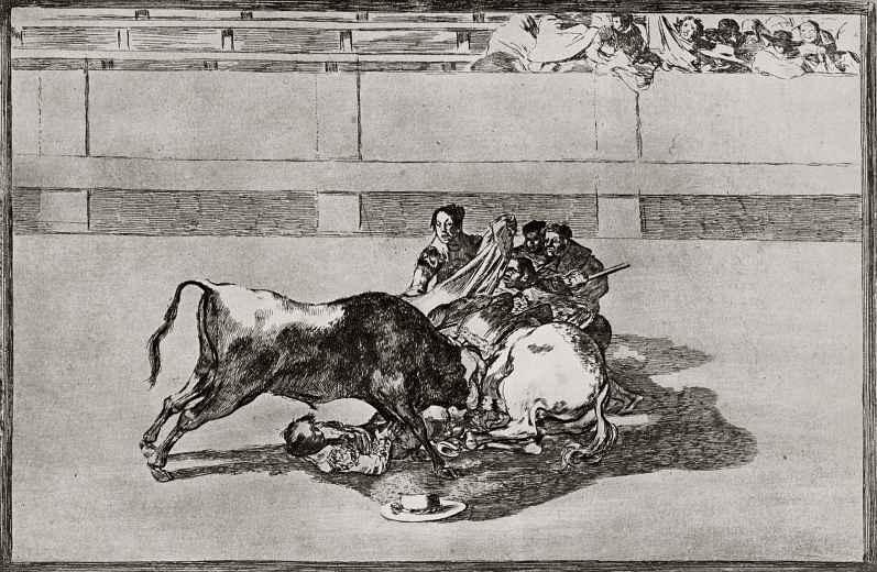 """Франсиско Гойя. Серия """"Тавромахия"""", лист 26: Упавший с коня пикадор"""
