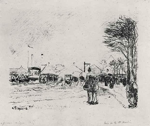 Камиль Писсарро. Рынок Сен Мартен в Понтуазе