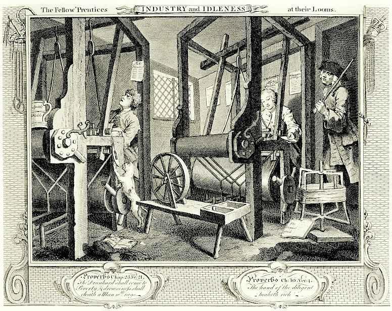 Уильям Хогарт. Два ученика за ткацким станком