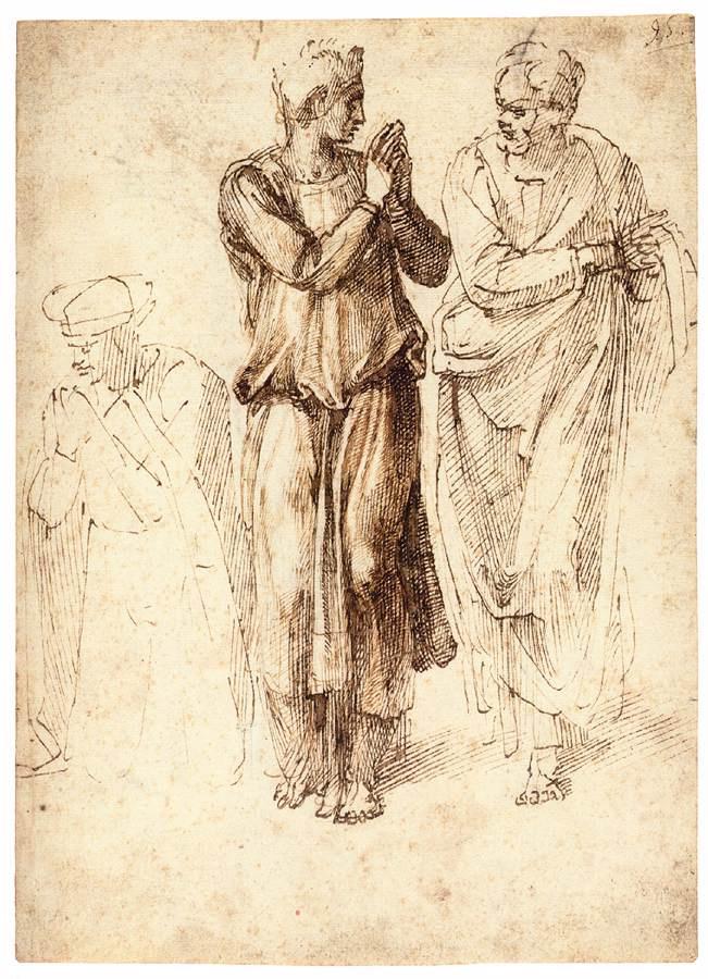 Michelangelo Buonarroti. Study of three figures