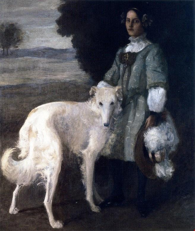 William Merritt Chase. Alice and wolfhound