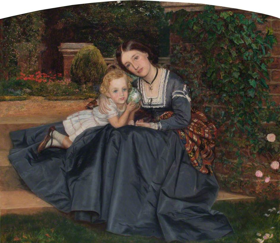 Arthur Hughes. Mother with baby in the garden