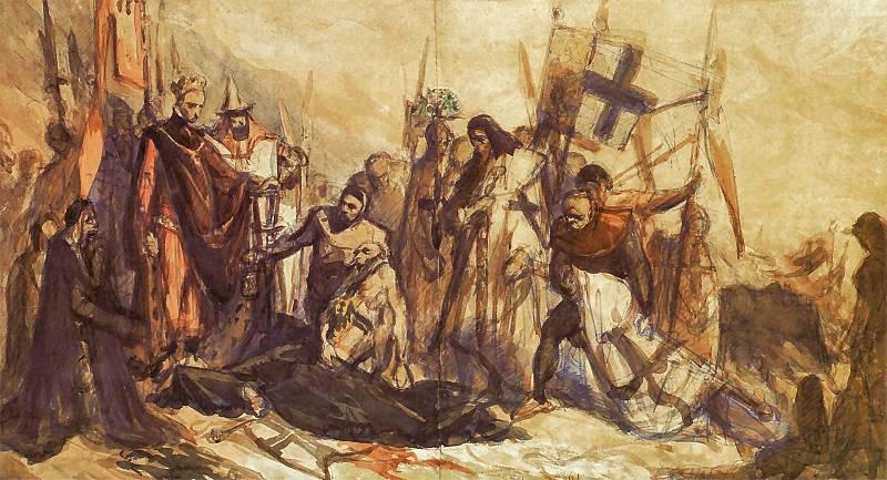 Ян Матейко. Владислав Ягелло на поле битвы в Грюнвальде