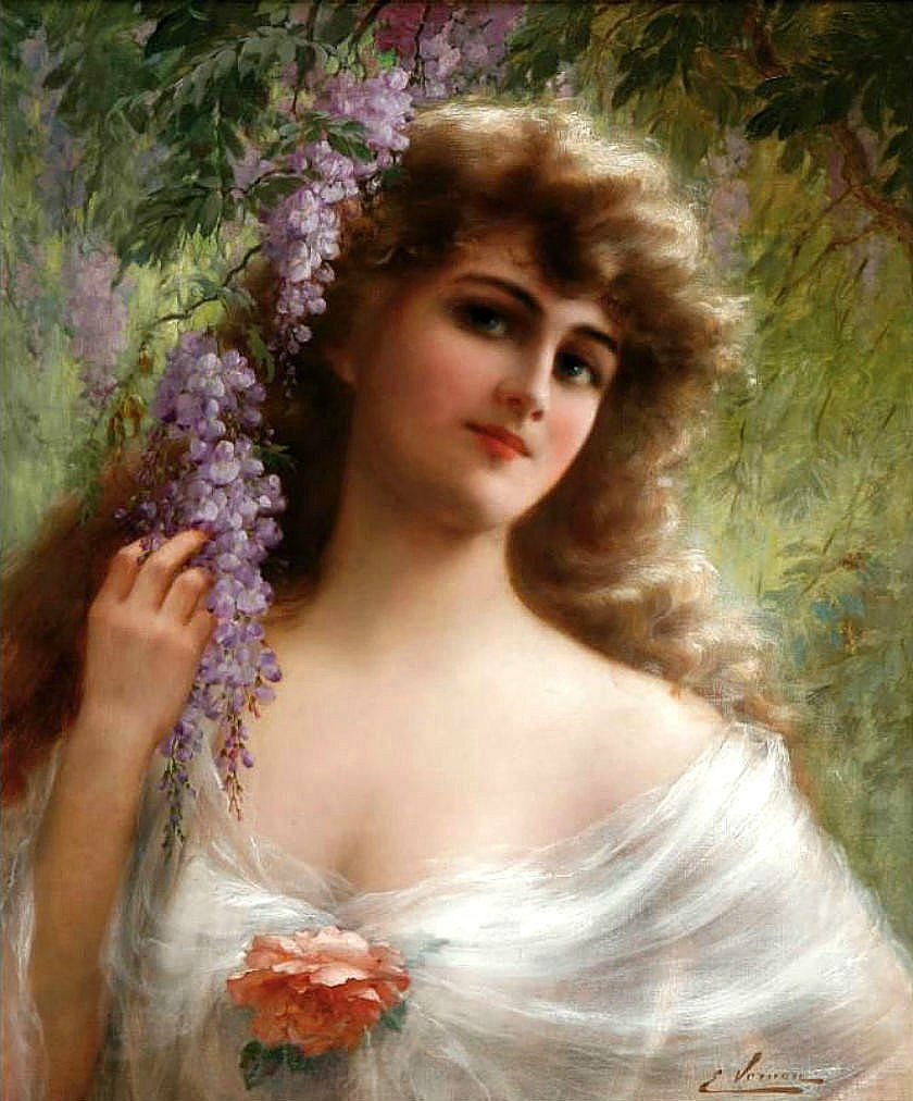 Emile Vernon. The girl is under wisteria.