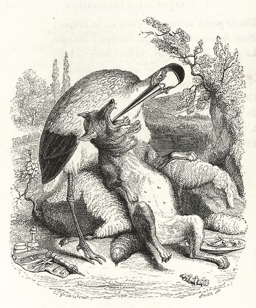 Jean Inias Isidore (Gerard) Granville. The Wolf and the Crane. Illustrations to the fables of Jean de Lafontaine