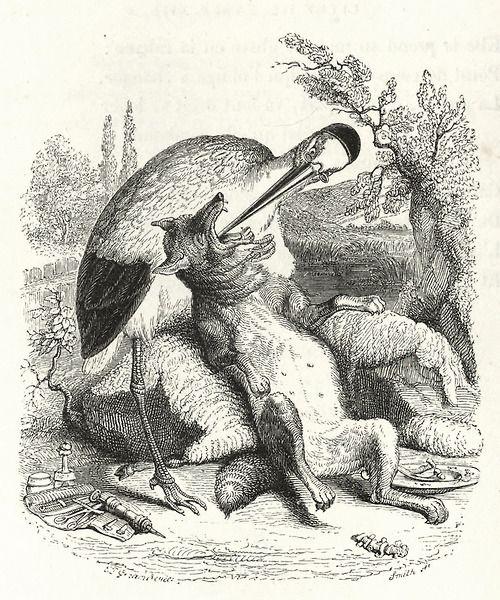 Жан Иньяс Изидор (Жерар) Гранвиль. Волк и Журавль. Иллюстрации к басням Жана де Лафонтена