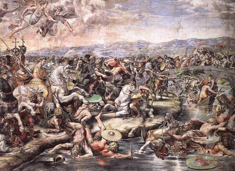 Рафаэль Санти. Битва на мосту Мильвио между Константином и Максенцием. Фреска зала Константина дворца понтифика в Ватикане