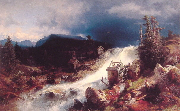 Герман Оттомар Герцог. Пейзаж с водяной мельницей