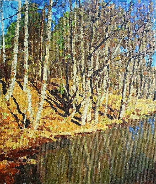 Mikhail Rudnik. April on the lake