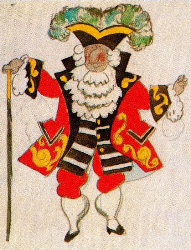 """Pablo Picasso. Costume design for ballet """"Tricorne"""""""