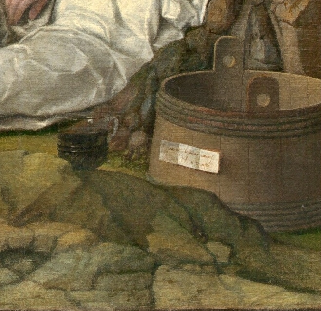 Titian Vecelli. Feast of the gods (with Giovanni Bellini). Fragment 8. Tub autographed by the authors