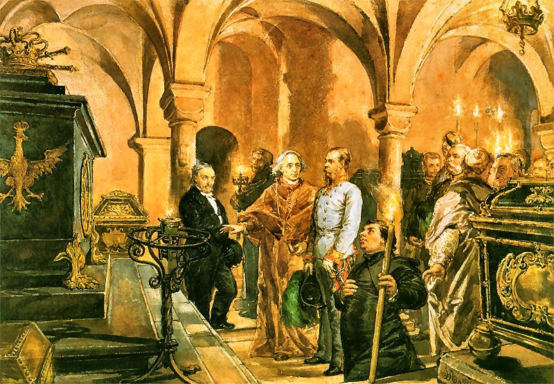 Ян Матейко. Император Франц-Иосиф перед саркофагом короля Яна III Собеского в склепе Св. Леонардо в Вавельском соборе