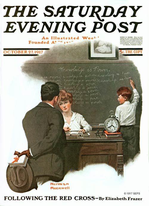 """Норман Роквелл. """"Знания - это сила"""". Обложка журнала """"The Saturday Evening Post"""" (27 октября 1917 года)"""