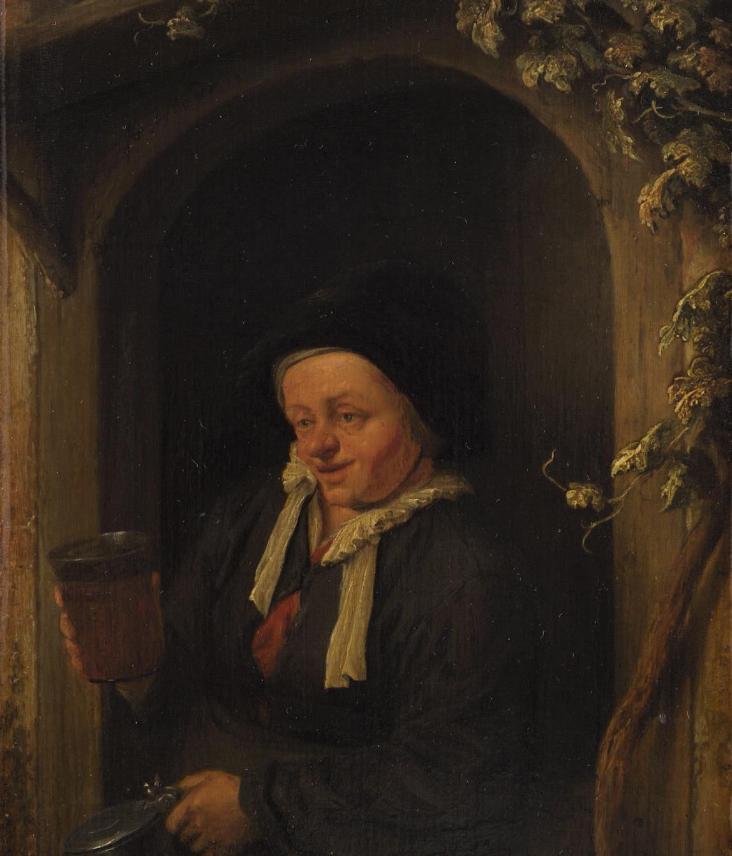Adrian Jans van Ostade. Woman at the window with jug and beer glass