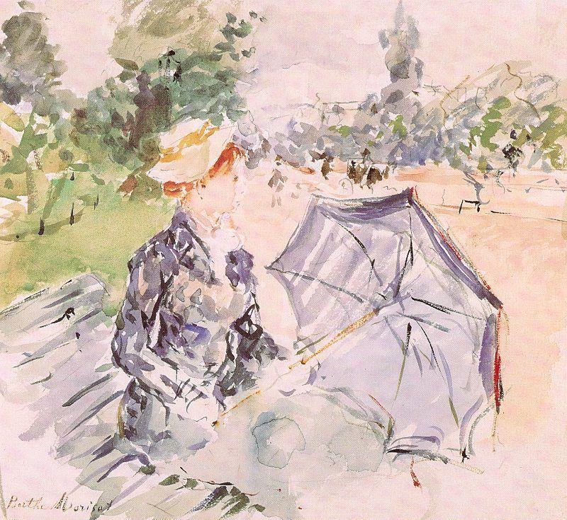 Берта Моризо. Дама с зонтиком, сидя в парке