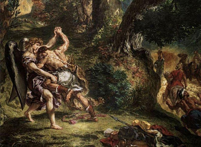 Эжен Делакруа. Борьба Иакова с ангелом, фрагмент. Роспись капеллы св. Ангела