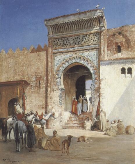 Виктор Пьер Хугует. Арабы перед мечетью