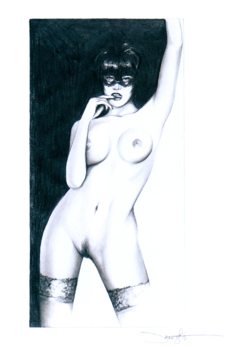 Jennifer Ianesco. Brunette in stockings