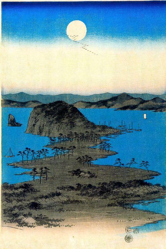 Utagawa Hiroshige. A rising full moon.