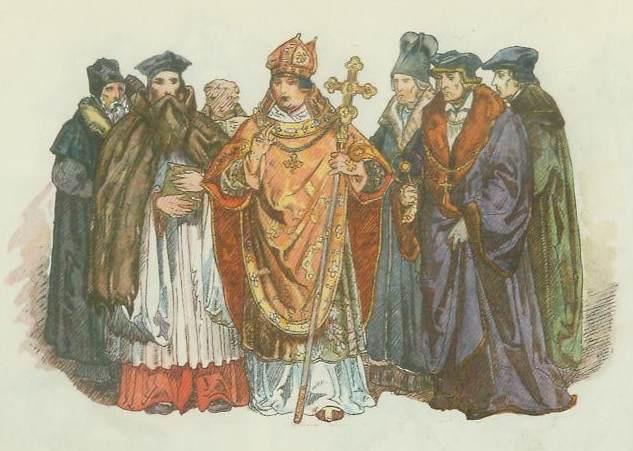 """Ян Матейко. Польское духовенство 1507 - 1548. """"Польская одежда, 1200 - 1795 г.г."""""""