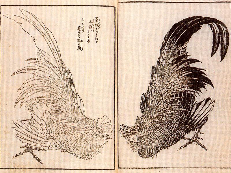 Кацусика Хокусай. Два петуха