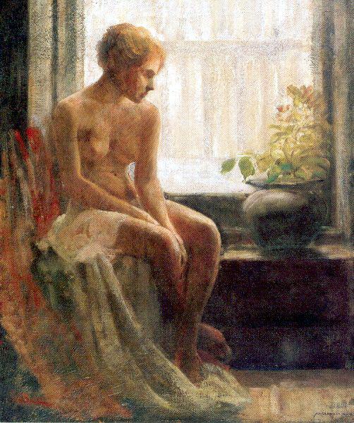 Фредерик Джон Мулхаупт. Обнаженная сидит у окна