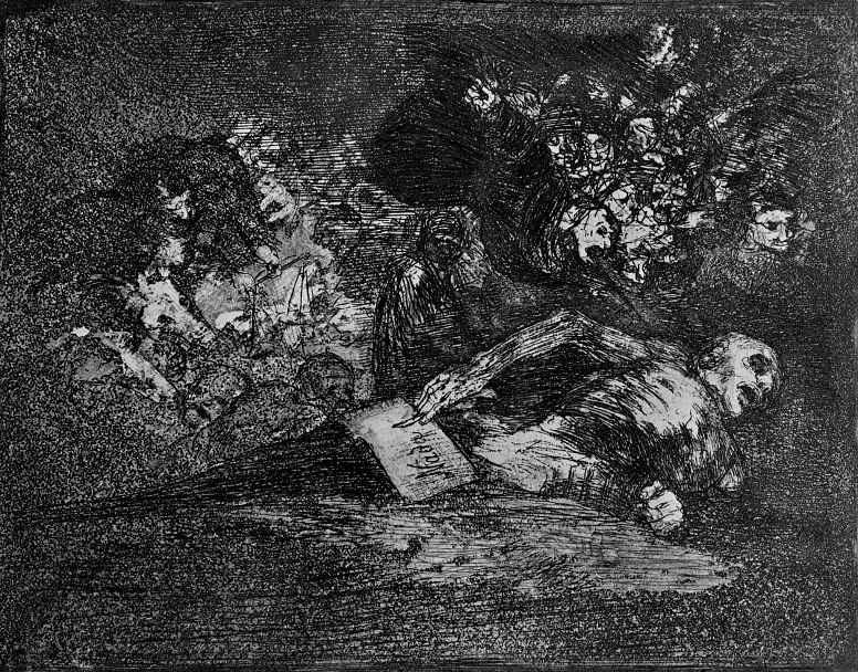 """Франсиско Гойя. Серия """"Бедствия войны"""", лист 69: Ничего. Потом увидят"""