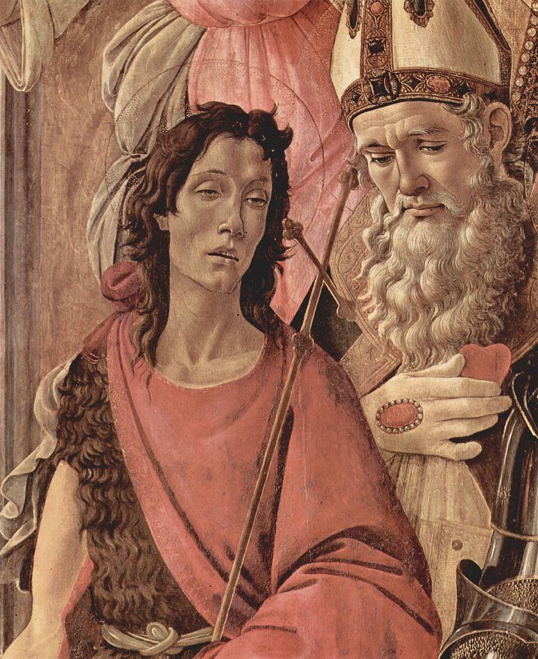 Сандро Боттичелли. Алтарь, центральная часть: Мадонна на троне, четыре ангела и святые, деталь: св. Иоанн Креститель и св. Игнаций