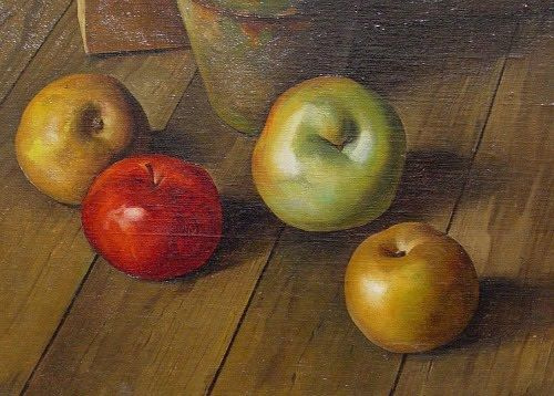 Luigi Lucioni. Still life with apples