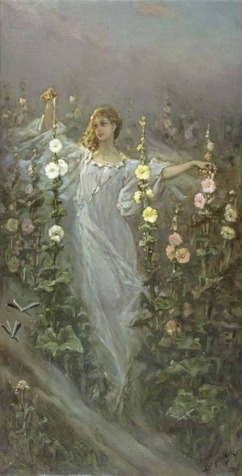 Wilhelm Kotarbinsky. Girl among the hollyhocks (flower Fairy; Rosa)
