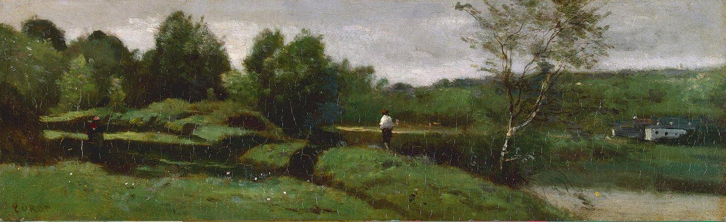 Камиль Коро. Пейзаж с мальчиком в белой рубашке