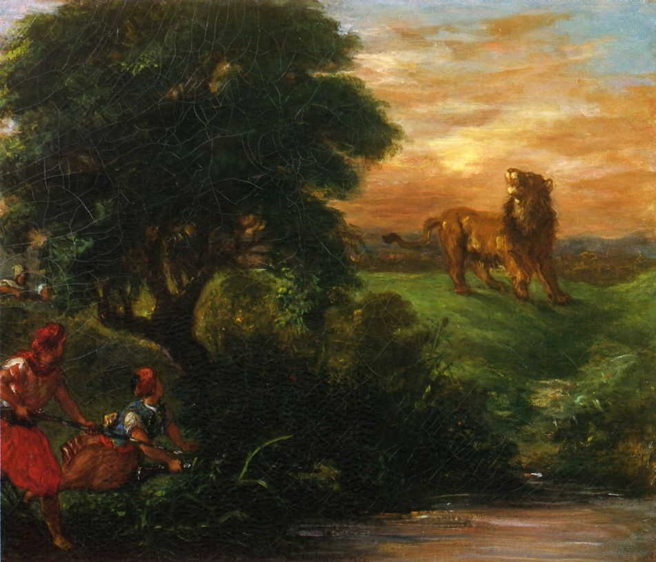 Eugene Delacroix. Hunting the lion at the waterhole