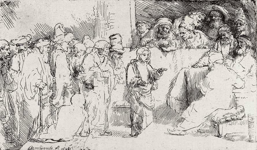 Рембрандт Харменс ван Рейн. Стоящий мальчик Иисус и книжники