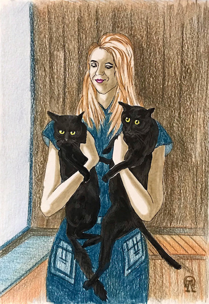 Larissa Lukaneva. Girl with cats. Sketch.