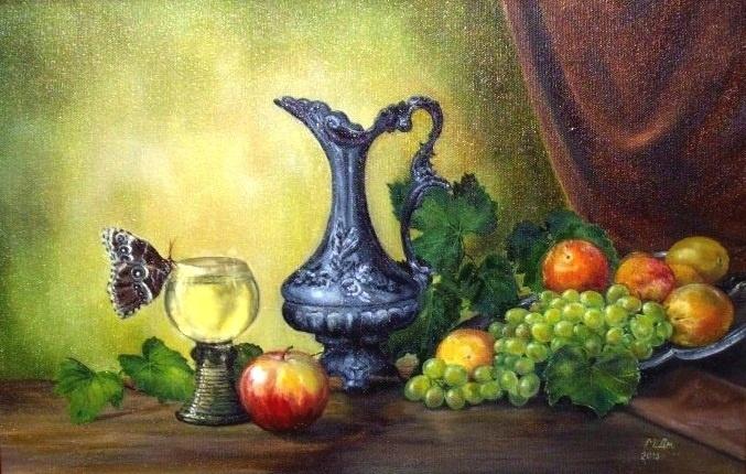 Marina Senko-Dmitrieva. Still life with grapes