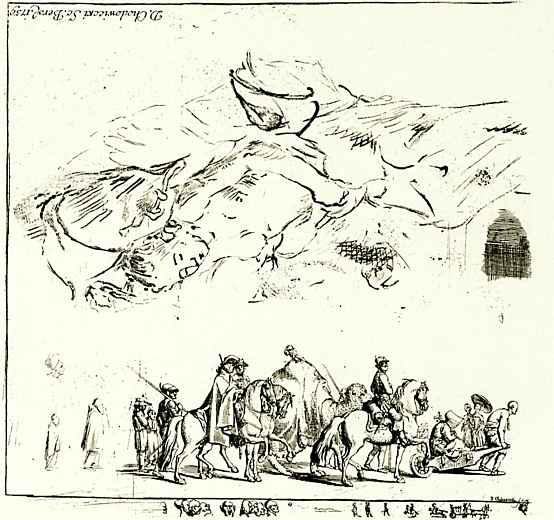 Даниэль  Николай Ходовецкий. Лист с зарисовками: караван и спящая женщина