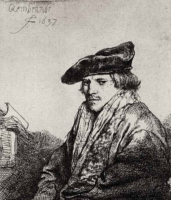 Рембрандт Ван Рейн. Портрет задумавшегося молодого мужчины