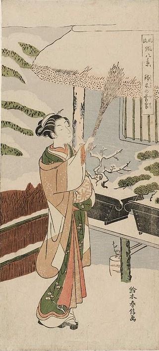 Suzuki Harunobu. Evening snow