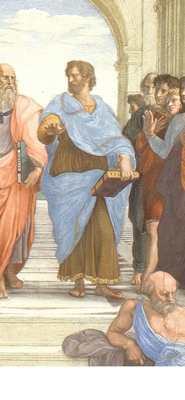 """Raphael Sanzio. The stanza della senyatura. The fresco """"the school of Athens"""". Snippet: Aristotle"""